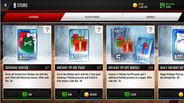 NBA Live Mobile Packs