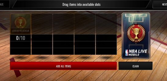 NBA Live Mobile List LvL items